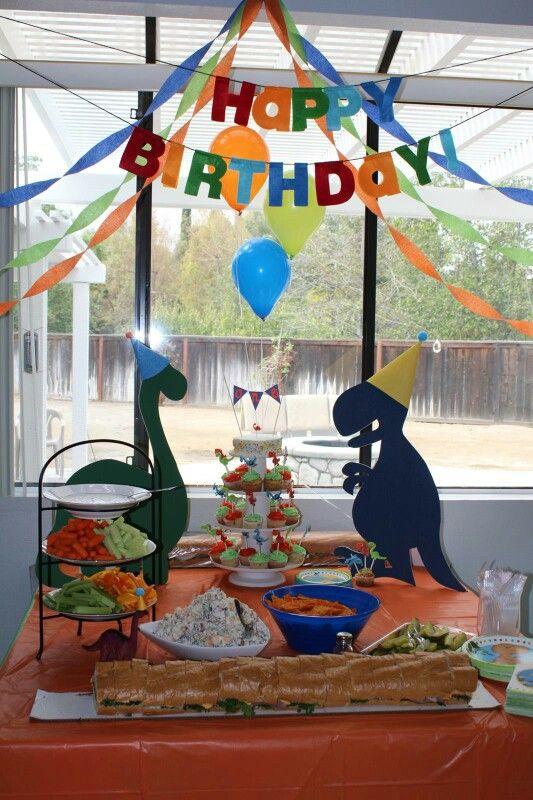 First birthday food table, dino first birthday, dinosaur 1st birthday
