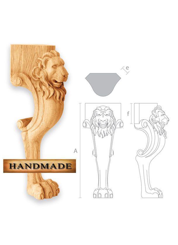 Set Von 4 Holz Couchtisch Beine Geschnitzte Fusse Lowe Kopf Und