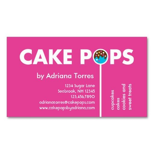 193 best sweet treats business cards images on pinterest cheer modern cake pops business card colourmoves