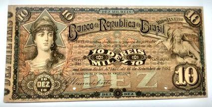 BRASIL 1893, 10 MIL RÉIS AMOSTRA DO BANCO DA REPÚBLICA DO BRASIL (RARA). SOB/FE