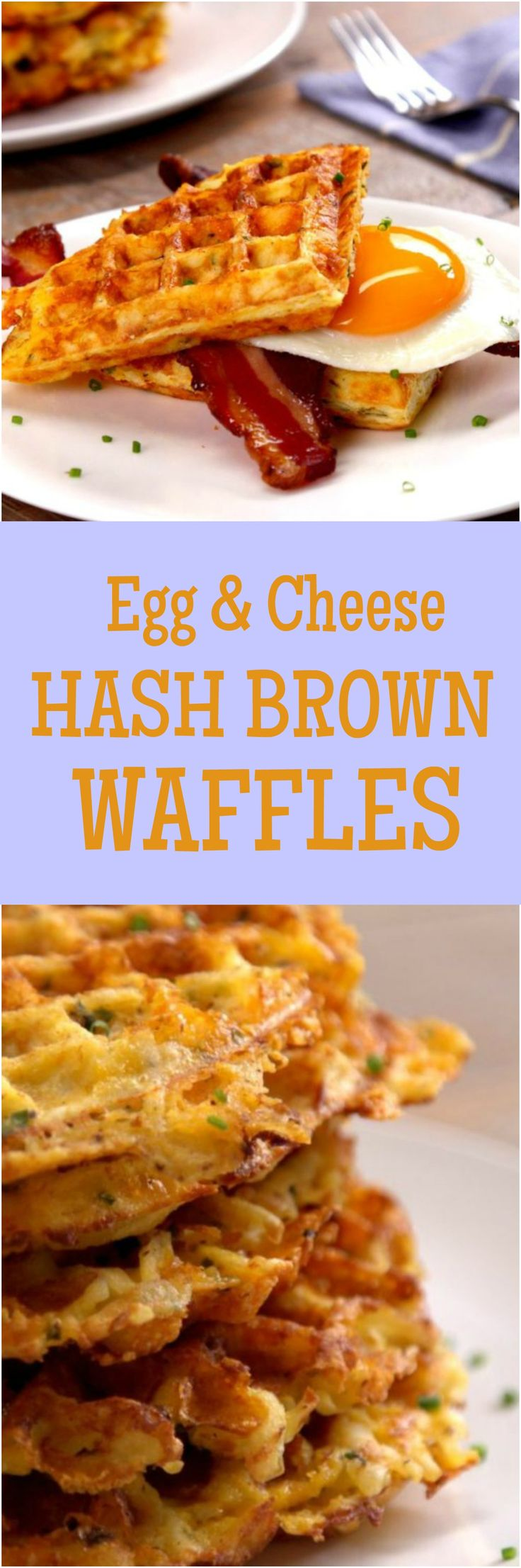 What happens when you grill all of your favorite breakfast flavors–eggs, cheddar cheese, chives, and hash browns–on a waffle iron? You get outrageous savory waffles that make syrup totally irrelevant.