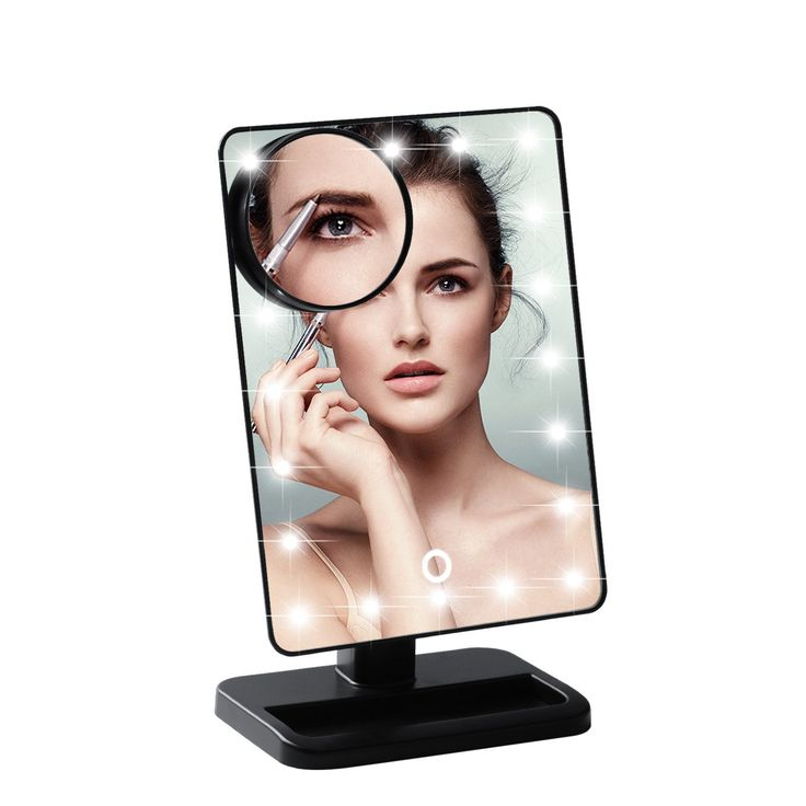 LESHP 20 LED Desk Makeup Mirror 10x Magnifying Lighted Makeup Mirror Portable Mirror with Lights Desk Vanity Mirror Desk Makeup Mirror 10x Comestic Mirror with Adjustable Brightness -Black