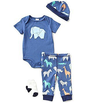 Starting Out Baby Boys´ Newborn-9 Months Elephant-Print 4-Piece Layette Set