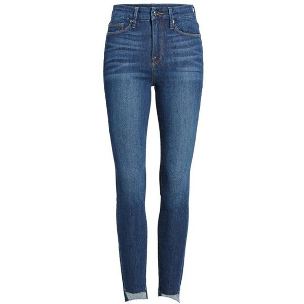 Women's Good American Good Legs High Waist Skinny Jeans (1370 MAD) ❤ liked on Polyvore featuring jeans, high rise skinny jeans, raw edge skinny jeans, skinny jeans, blue skinny jeans and frayed skinny jeans