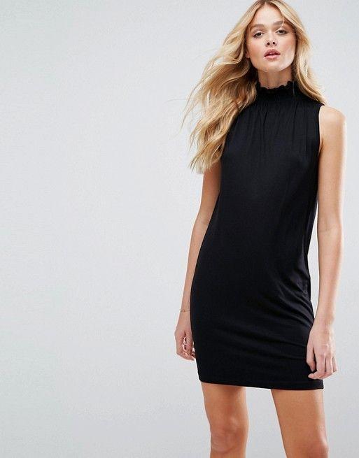 ASOS Mini Shift Dress With Shirred Neck