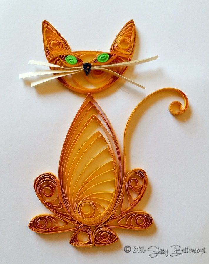 Quilled Orange Tabby Cat  #quilled #cat #tabby #orange