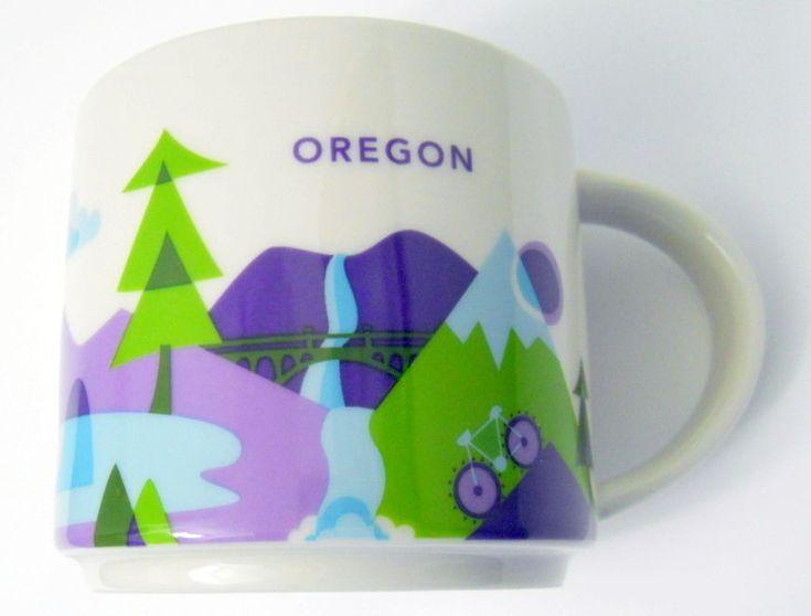 Starbucks Oregon Coffee Mug You Are Here 2015 Blue In Beach Waterfall, Bike Tree #Starbucks