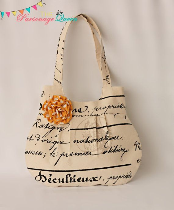 Natural French Script Print Handmade Purse