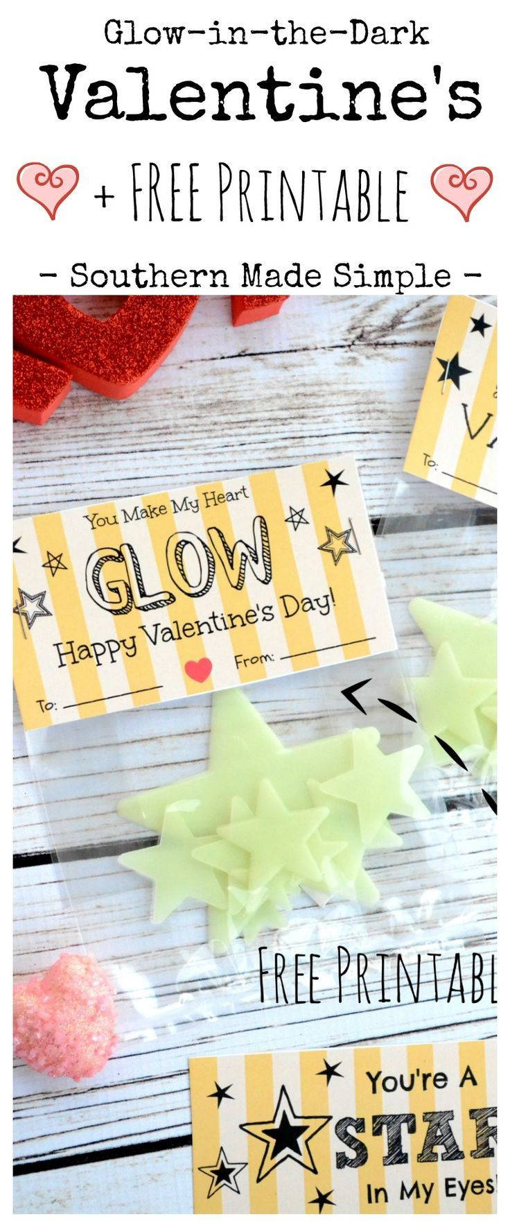 Glow in the dark Valentine's Day Cards with FREE Printable! Ditch the candy and grab these fun glow stars to give to your Valentine!