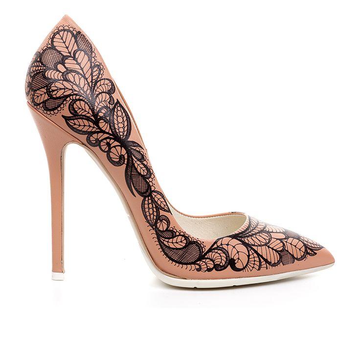 Code: 1203A03 Heel height: 12cm www.mourtzi.com #lace #pumps #tattoo #romantic #nude