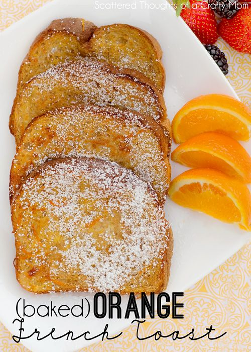 "Baked Orange French Toast ~ the french toast came out crispy and sweet with just a hint of orange and vanilla. There's no reason to wait for the weekend to make this recipe either ~ It makes an excellent ""breakfast for dinner meal"" too."