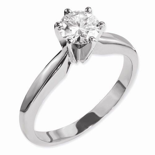 14 KT White Gold Round Solitaire Ring .60 CTW - Celestial Premier Moissanite Solitaire Ring - Clearance