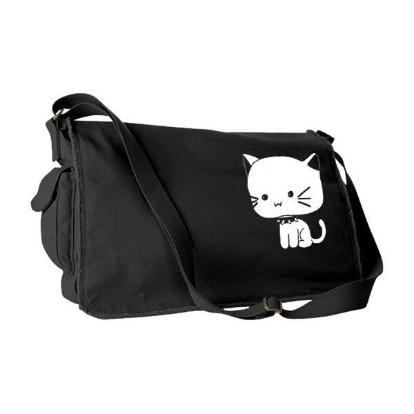 Kitten Messenger Bag kawaii school bag cute cat bag kitty anime pastel... ($49) ❤ liked on Polyvore featuring bags and messenger bags