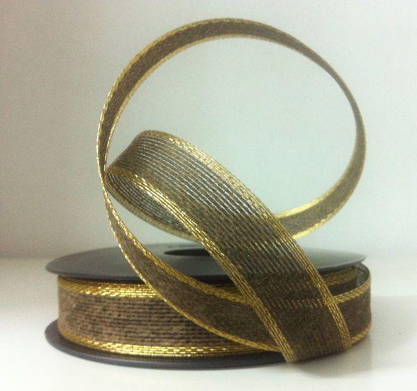 Cinta de regalo, esterilla/yute natural en marrón oscuro con ribete dorado. 20 y 40 mm www.gramajeshop.com