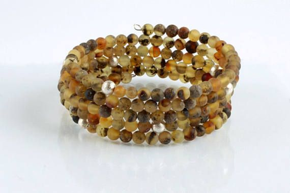 Quintuple Strand Genuine Amber Bracelet with Silver Beads