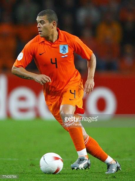 Wilfred Bouma of the Netherlands in action during the Euro 2008 Group G qualifying match between The Netherlands and Slovenia at Philips Stadium on...