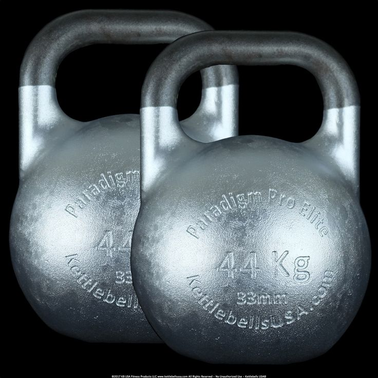 Pair of 44 kg - 97 lb Paradigm Pro® Elite 33 mm Handle Diameter Steel Competition Kettlebells by Kettlebells USA®. Kettlebells USA® has listened to the feedback from elite level kettlebell sport champions and coaches and responded with a 33mm handle diameter version of our highly acclaimed Paradigm Pro® Elite Inner Core Technology™ Competition Kettlebell Line.   #jiujitsu #jiujitsulife #mmaconditioning