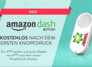 Amazon Dash Button: Waschmittel, Katzenfutter und mehr per Knopfdruck bestellen https://www.discountfan.de/artikel/technik_und_haushalt/amazon-dash-button-waschmittel-katzenfutter-und-mehr-per-knopfdruck-bestellen.php Der Amazon Dash Button ist da: Der Onlinehändler verkauft den kleinen Alltagshelfer für 4,99 Euro und bietet einen Rabatt von ebendiesen 4,99 Euro auf die erste Bestellung. Kunden sollen mit dem Button ihre Lieblingsprodukte auf Knopfdruck bestellen können.