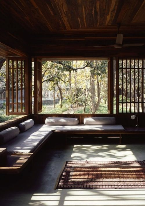 Natural Wood Interiors :: Wood Windows, Wood Ceiling, Built-in Wood Bench / Couch / Seating, Bolster Pillows