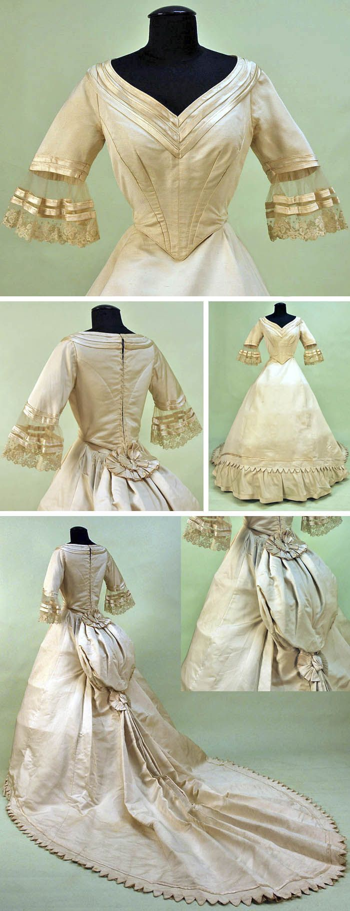 The HoopSkirt Society — Ivory silk bengaline wedding gown, French, 1860....