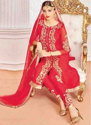 Red Embroidery Work Georgette Santoon Chiffon Designer Wedding Pakistani Suit http://www.angelnx.com/Salwar-Kameez/Pakistani-Suits