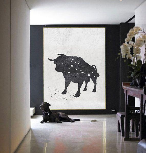 Black And white Acrylic Painting Minimalist Art by CelineZiangArt More