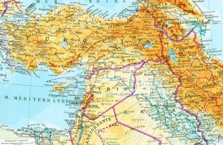 1950 Turquie Egypte Syrie Moyen Orient Palestine Jordanie Carte Planche Originale Atlas Geographie Grand Format Illustration de la boutique sofrenchvintage sur Etsy