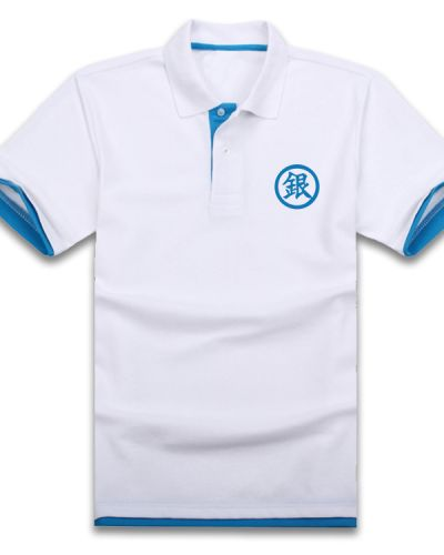 Silver Soul white polo shirts for men casual anime polo shirt