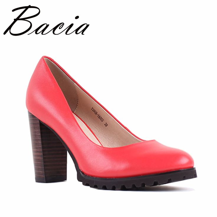 Find More Women's Pumps Information about Bacia NEWEST Square Heel pumps  Red Sheepskin Women Pumps Luxury Quality Heels Round Toe Fashion Party Shoes  Size ...