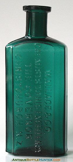 WALLACE & Co Chemists To His Excellency The Governor CHRISTCHURCH NZ Druggist Pharmacy Drug Store Apothecary - See Our Other Antique Bottles