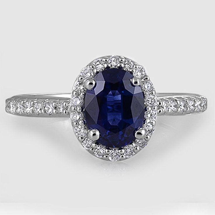 18 Karat Weißgold Saphir Phantasie Halo Diamant Ring / / Set mit einem 8 x 6 mm blau ova …