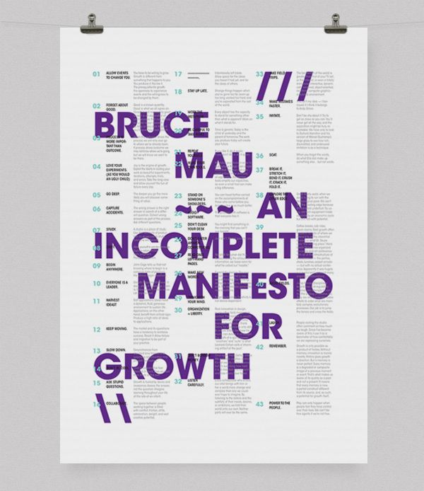 A Poster for Bruce Mau's An In Complete Manifesto for Growth by Abby Chen, via Behance