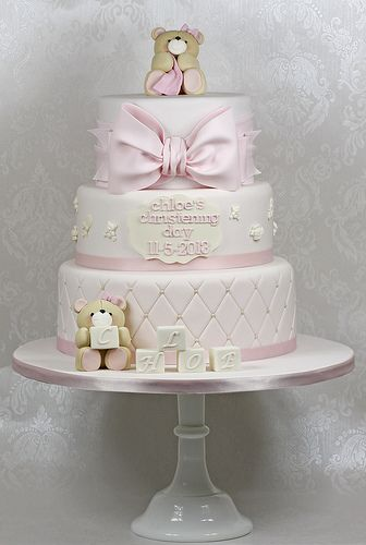 Teddies Christening Cake - For all your cake decorating supplies, please visit craftcompany.co.uk