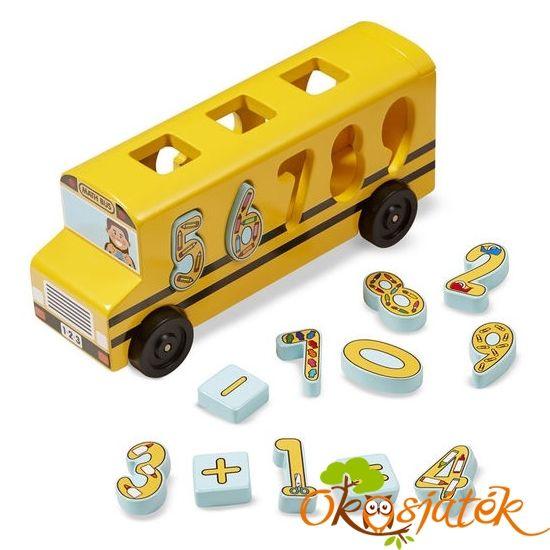 """""""Matek"""" busz játék fából - formaberakó és játékbusz egyben - Melissa 19398 (ME)"""