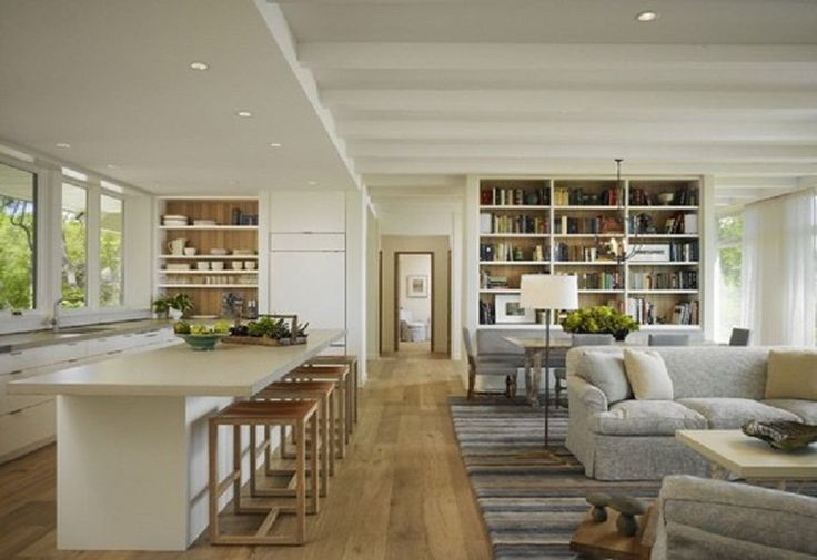 Classic Open Plan Living Room to Kitchen with Antique White Oak Flooring
