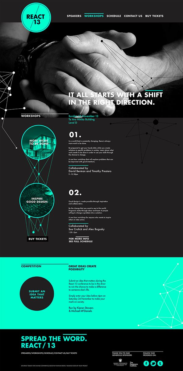 This was a university project where I had to design a website for a design conference. My conference is called 'React' as it has a focus on Design for social change.