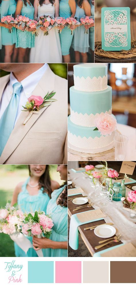 tiffany blue and pink rustic wedding ideas