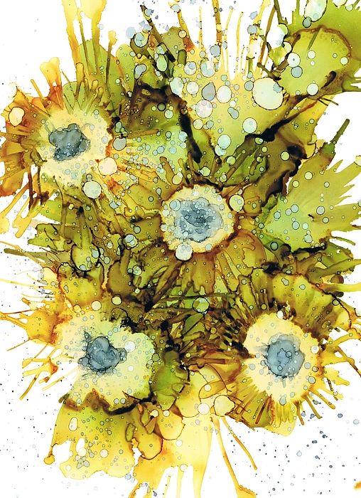 Exploding Sun Flowers  Alcohol Ink Framed Prints
