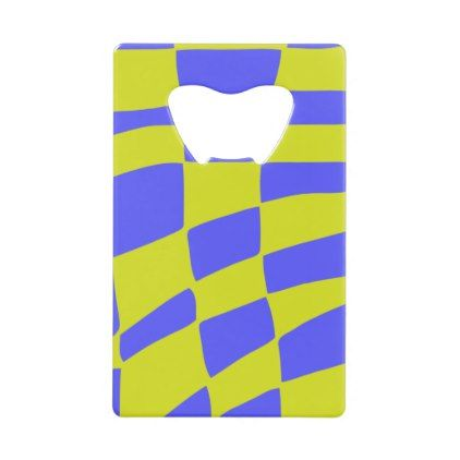 Yellow and Blue Squares Credit Card Bottle Opener - modern gifts cyo gift ideas personalize