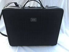 Burberrys leather and check black briefcase logo unisex with leather strap