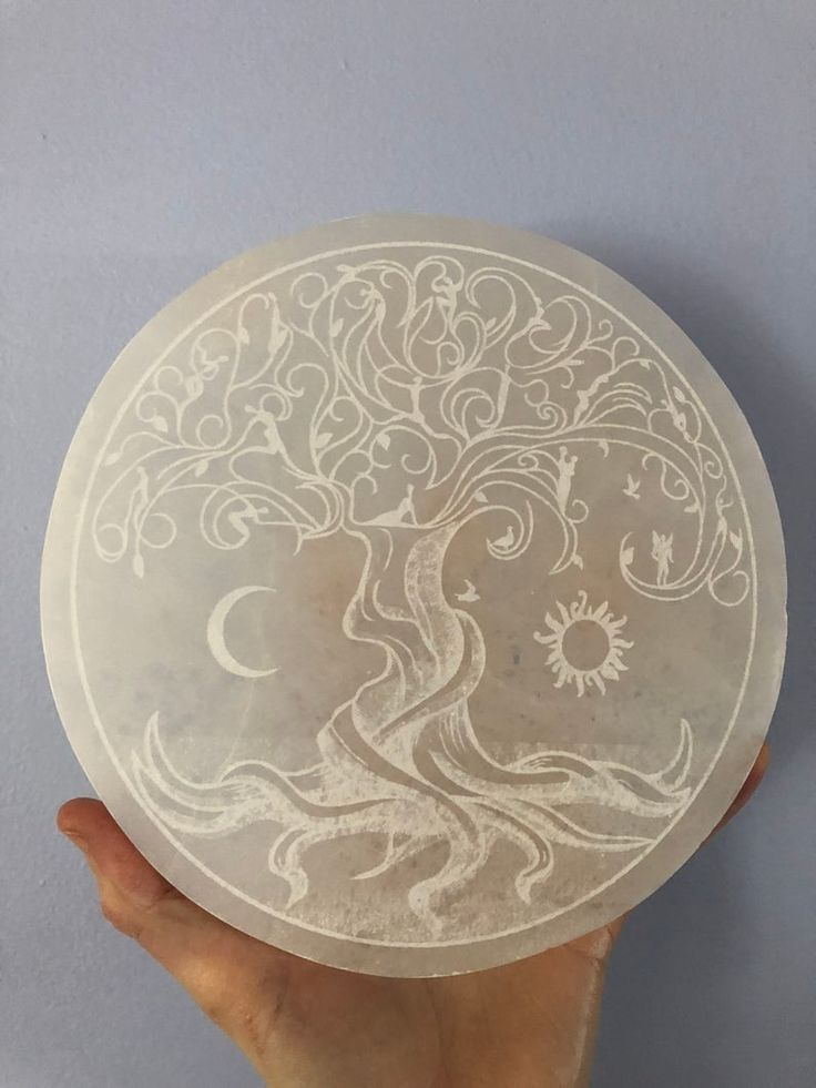 Etched selenite charging plate etched tree of life largest
