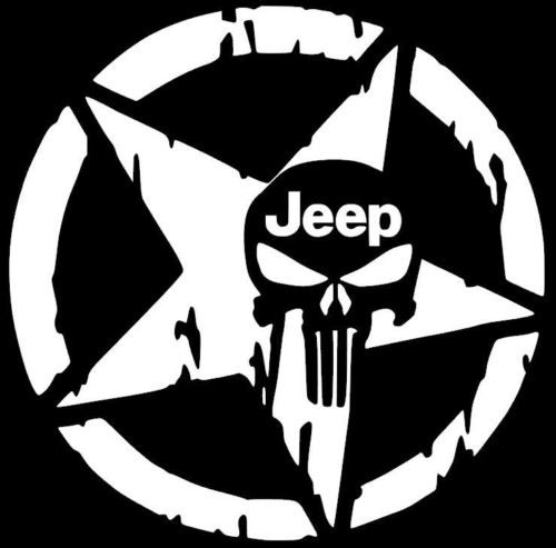 STAR-Jeep-Punisher-Skull-Decal-Vinyl-Sticker-Wrangler-Rubicon-Willys-10-COLORS