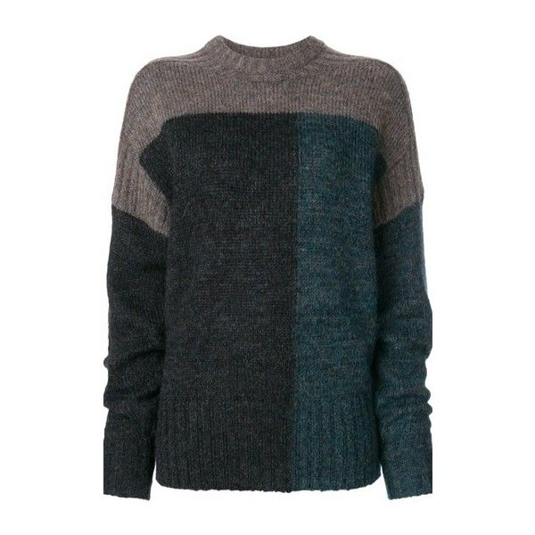 ISABEL MARANT ETOILE Daryl Colour Block Jumper ($368) ❤ liked on Polyvore featuring tops, sweaters, multi, jumpers sweaters, long sleeve sweater, color block sweater, round neck sweater and color block tops
