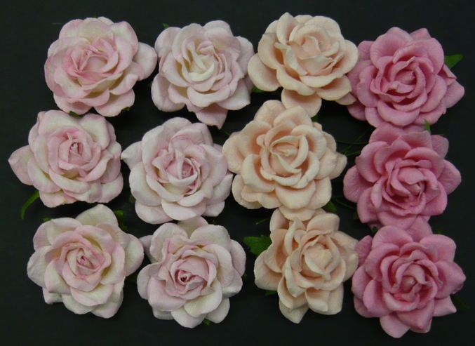 20 MIXED PINK TONE MULBERRY PAPER TRELLIS ROSES