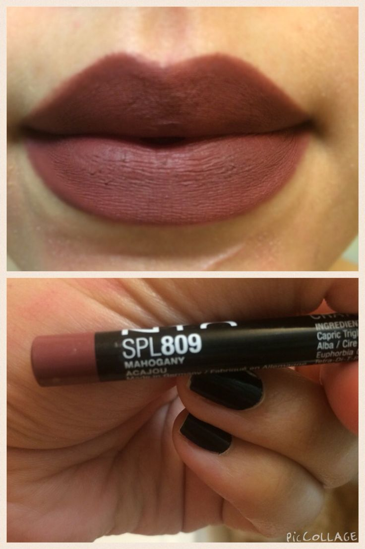 Nyx lip pencil in mahogany #809 LOVE... A little on the dark side but perfect for this time of year .. I think brown lips are everything right now