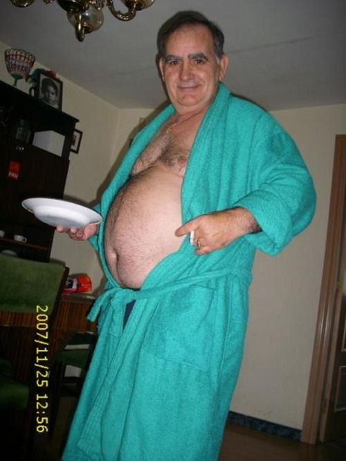 Naked dad in robe