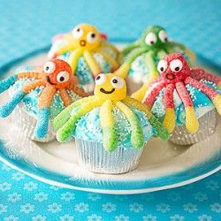 Octopus Cupcakes  Make a splash at a beach or pool party with an armful of these ocean-themed treats. So fun and so…