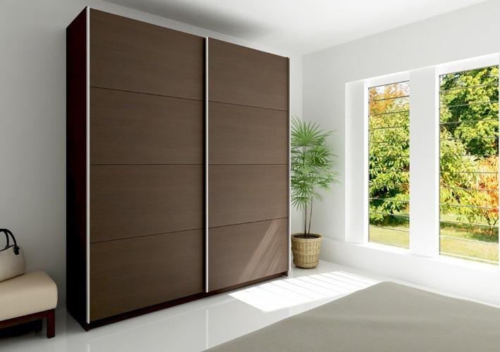 Armario 2 puertas correderas en color wengue armarios for Armarios puertas correderas online