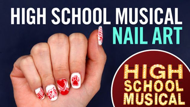 Get your mani in the game with nail art inspired by one of our favorite Disney Channel Original Movies, High School Musical!