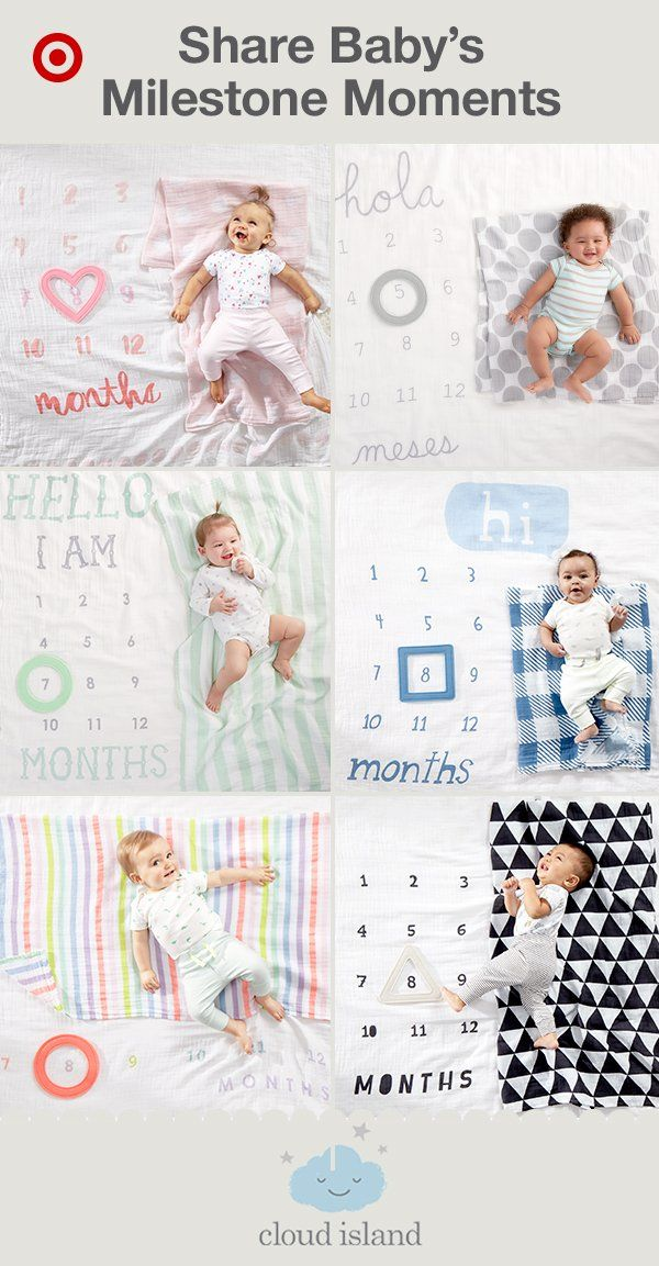 Create and share beautiful milestone pictures of your baby with the Cloud Island 3-piece Milestone Blanket Set, new and only at Target. The perfect alternative to monthly stickers, the milestone blanket includes a soft, printed blanket featuring 1–12 months, a movable frame and a coordinating blanket to swaddle your little one. Plus, there are 6 styles and color combinations to choose from, including a Spanish-language option. Go ahead and start making memories.